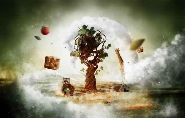 Картинка животные, туман, фентези, креатив, дерево, арт, жираф, пасть, енот, wallpaper, фауна, флора, утконос, desctop, тотем