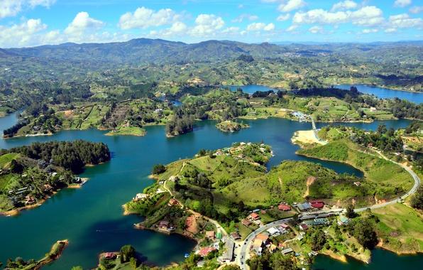 Картинка река, панорама, Colombia, островки, Guatape