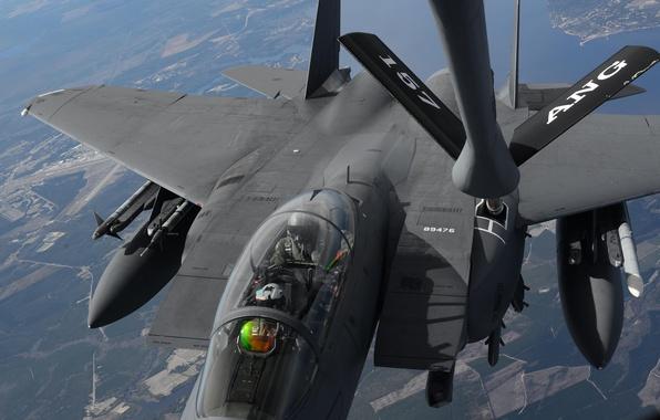 Картинка истребитель, Eagle, полёт, дозаправка, F-15E, McDonnell Douglas