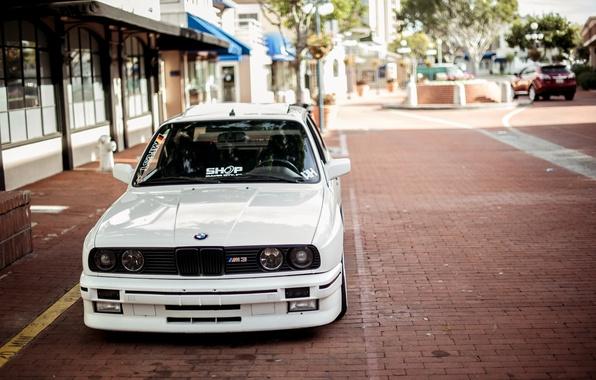 Картинка BMW, White, E30, 3 Series, Macro