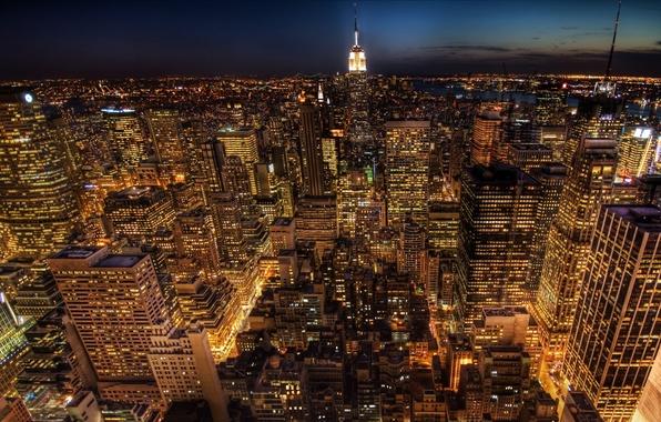 Картинка жизнь, огни, дороги, Нью-Йорк, америка, небоскрёбы, соединённые штаты