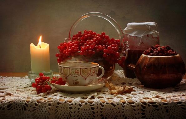 Картинка лист, ягоды, стол, свеча, плоды, шиповник, чашка, банка, натюрморт, варенье, вазочка, калина