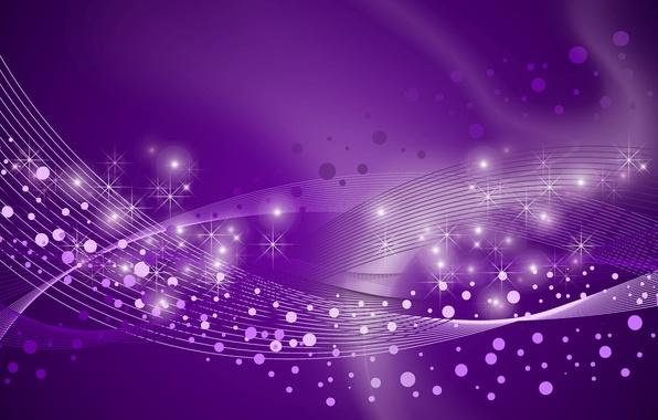Картинка линии, круги, звёзды, фиолетовый фон