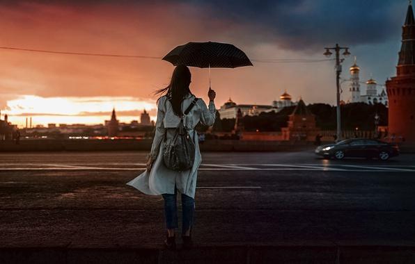 Картинка Закат, Девушка, Кремль, Зонт, Красивая, Наталья Квинт