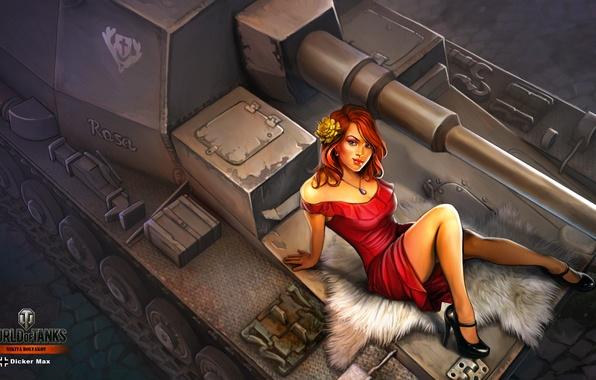 Картинка девушка, рисунок, платье, арт, сидит, в красном, САУ, World of Tanks, Dicker Max, немецкая, Nikita …