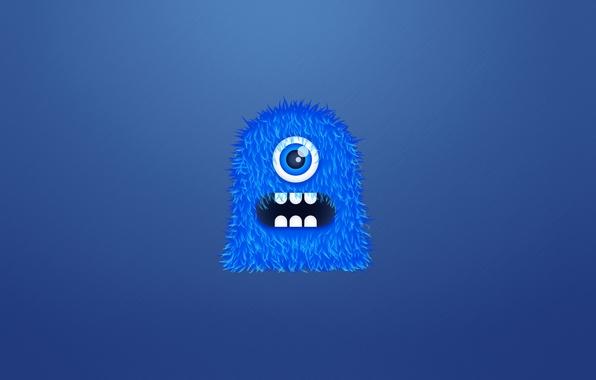 Картинка синий, монстр, мохнатый, monster, чудик, одноглазый, зубастый