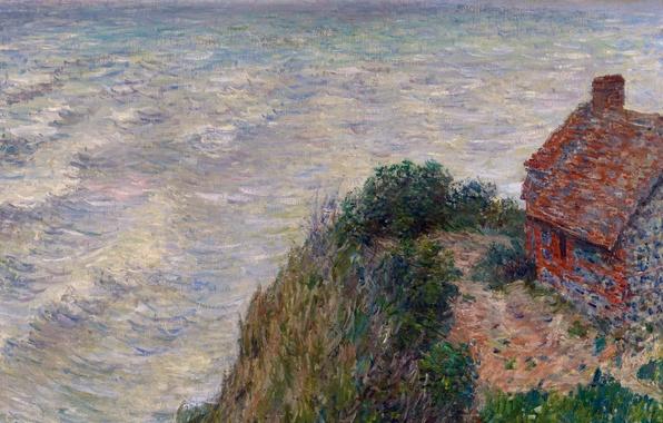 Картинка море, волны, картина, морской пейзаж, Клод Моне, Рыбацкий Домик в Пти-Айли