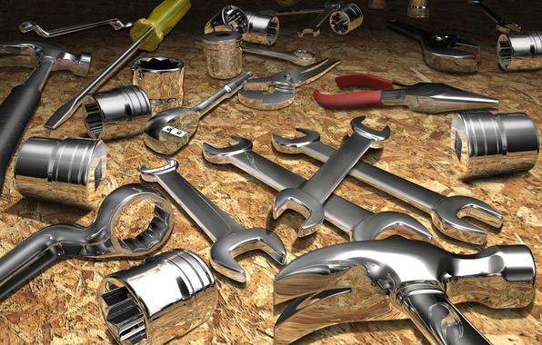 Картинка металл, абстракция, блеск, ключ, молоток, инструмент, ремонт, хром, отвертка, пасатижи, поршень, никель
