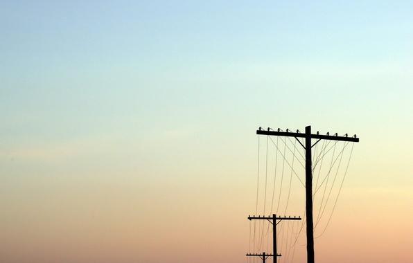 Картинка небо, столбы, провода
