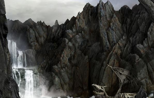 Картинка море, скалы, дракон, водопад, скелет
