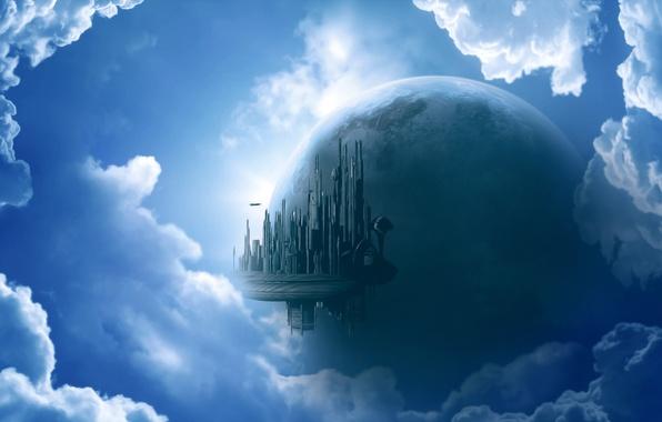 Картинка город, рендеринг, фантастика, графика, планета, небоскребы, sky city