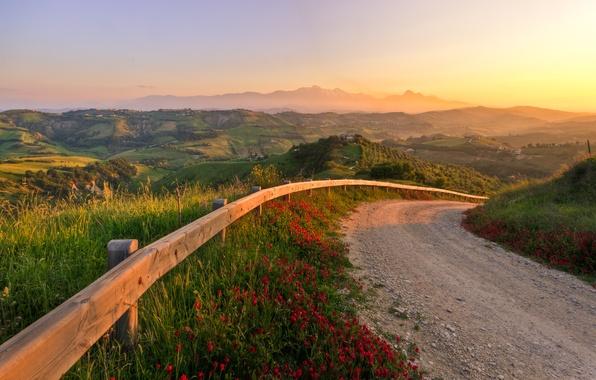 Картинка дорога, закат, природа, холмы, италия, fabulous sunset