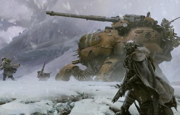 Картинка снег, горы, оружие, destiny, робот, арт, солдаты, танк, шлем, плащ, меха, военные