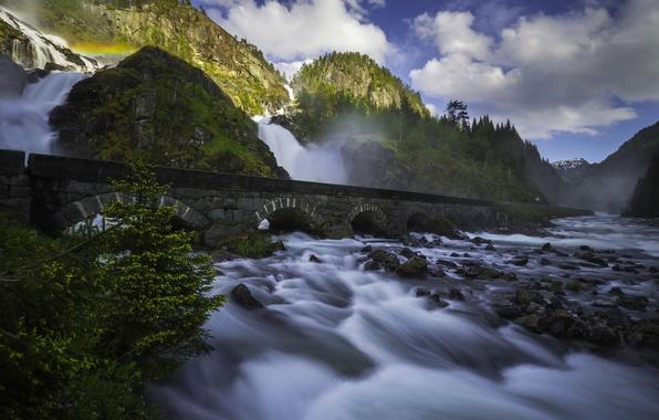 Картинка горы, мост, река, камни, скалы, водопад, Норвегия, каскад, Norway, Одда, Odda, Лотефосс, Latefossen