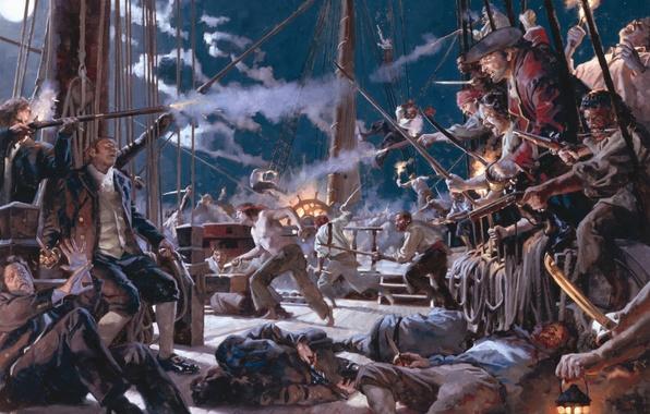 Картинка ночь, смерть, дым, корабль, выстрел, пираты, moon, horror, gun, лунный свет, трупы, сабли, night, fight, …