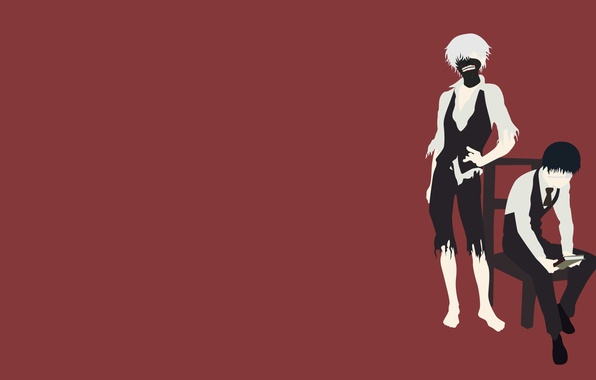 Картинка минимализм, аниме, anime, Tokyo Ghoul, Kaneki Ken, Токийский Гуль, Канеки кен