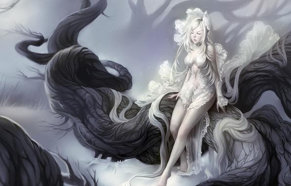 Арт девушки с белыми волосами