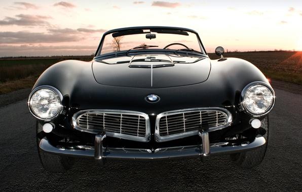 Картинка дорога, поле, небо, закат, чёрный, бмв, BMW, спорткар, кабриолет, передок, 1957, Series 2, 507, красивая …