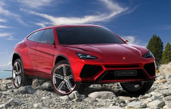 Картинка Concept, небо, красный, камни, Lamborghini, джип, концепт, передок, Ламборгини, Urus, Урус