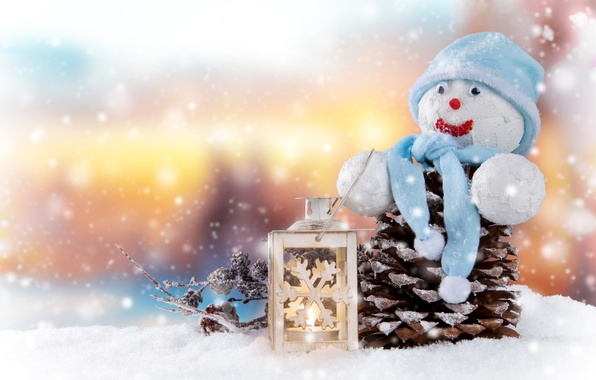Картинка Свечи, Снег, Шапка, Новый год, Праздник, Шишки, Снеговик