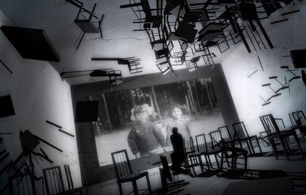 Картинка воспоминания, фото, комната, стулья, черно-белая