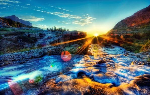 Обои картинки фото река утро солнце