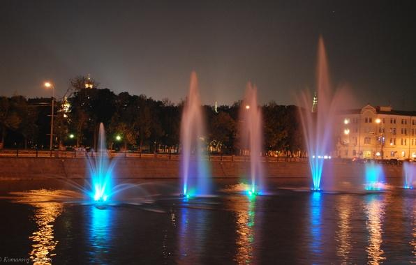 Картинка Огни, Ночь, Река, Москва, Фонтаны