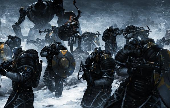 Картинка девушка, оружие, фантастика, армия, воин, рыжая, топор, щит, викинг, арбалет