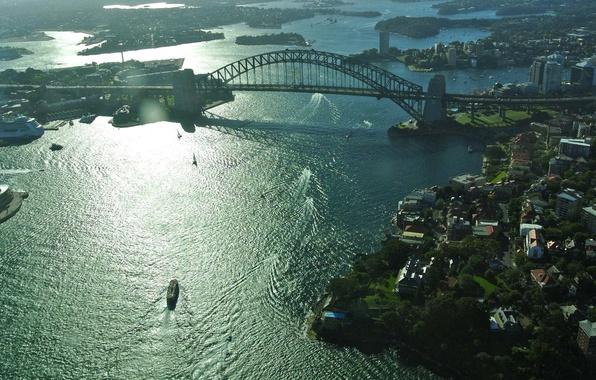 Картинка мост, город, Австралия, Сидней, Australia, Sydney, Sydney Harbour Bridge, акватория., Харбор-Бридж