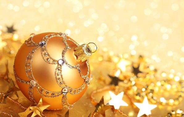 Фото обои игрушка, Новый Год, праздники, зима, золотой, елочная, боке, New Year, Christmas, шар, блестки, узоры, звездочки, ...