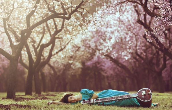 Картинка девушка, природа, фон, инструмент