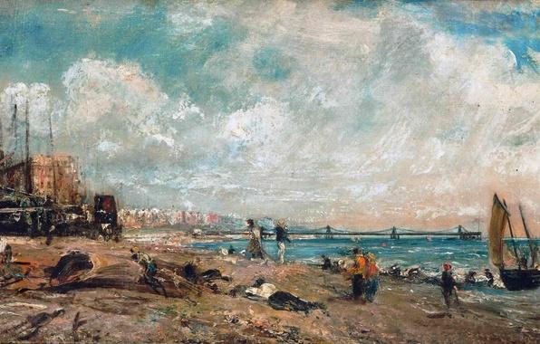 Картинка море, небо, облака, пейзаж, люди, берег, лодка, дома, картина, парус, John Constable