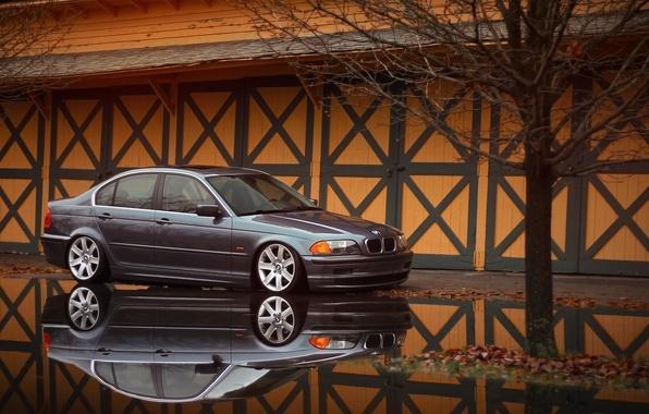 Картинка отражение, бмв, BMW, лужа, серая, E46, 3 серия, 325