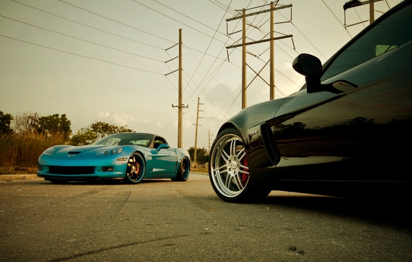 Картинка синий, чёрный, Z06, Corvette, Chevrolet, шевроле, black, blue, корвет