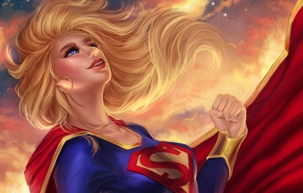 Картинка взгляд, девушка, полет, костюм, DC Comics, Supergirl