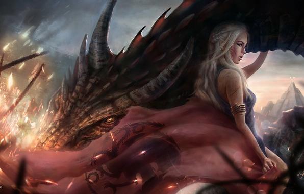 Картинка Девушка, Дракон, Блондинка, Волосы, Арт, Фильмы, Game of Thrones, Игра престолов, Emilia Clarke, Daenerys Targaryen, …
