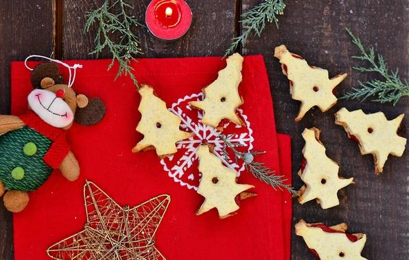 Картинка украшения, праздник, звезда, еда, свеча, печенье, Рождество, Новый год, star, Happy New Year, Merry Christmas, …