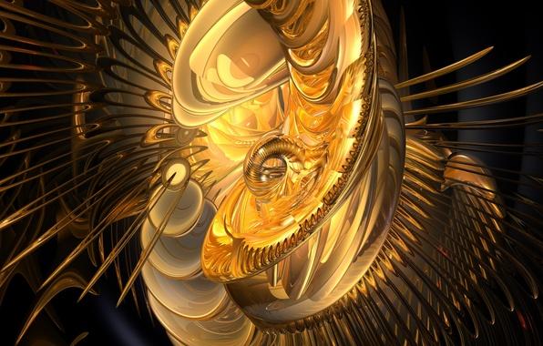 Картинка круги, иглы, спирали, свечение, желтые, черный фон