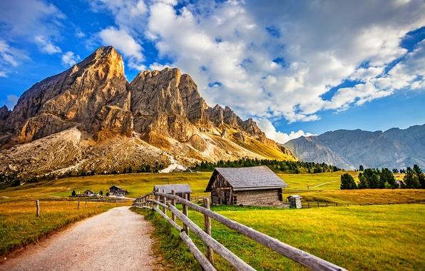 Картинка небо, трава, облака, снег, деревья, пейзаж, горы, природа, дома, grass, forest, sky, trees, landscape, nature, …