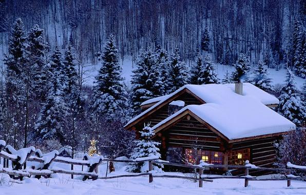 Картинка зима, снег, дом, елка, новый год