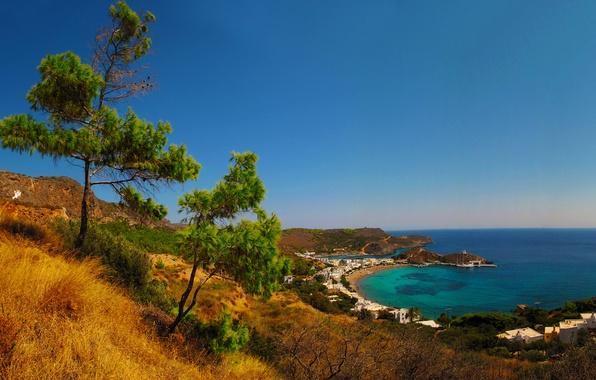 Картинка море, пляж, побережье, дома, Греция, причал, горизонт, залив, коса, Kapsali