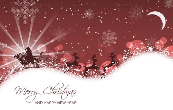 Картинка снежинки, санта клаус, сани, олени, Christmas, New Year, Merry