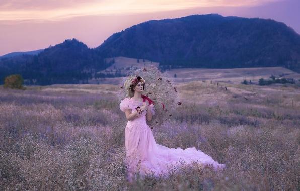 Картинка поле, лес, девушка, цветы, платье, фея, фэнтези, прическа, прогулка, принцесса, венок, нежно, нимфа, обои от …