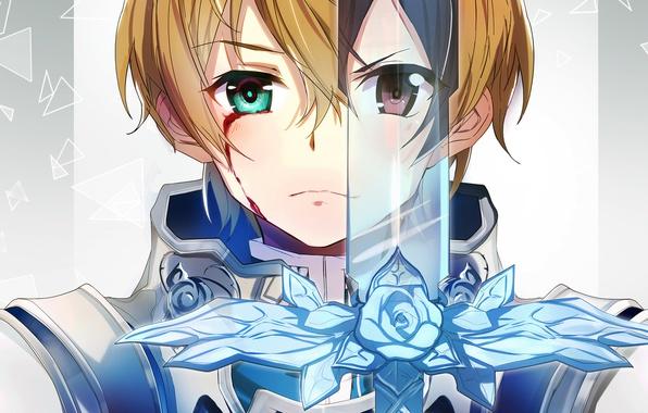 Картинка глаза, меч, аниме, арт, Sword Art Online 3
