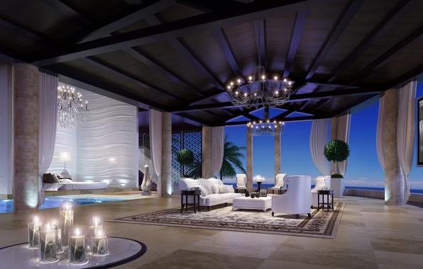 Картинка дизайн, стиль, диван, интерьер, свечи, кресла, шторы, люстры, desigen, телевизор.