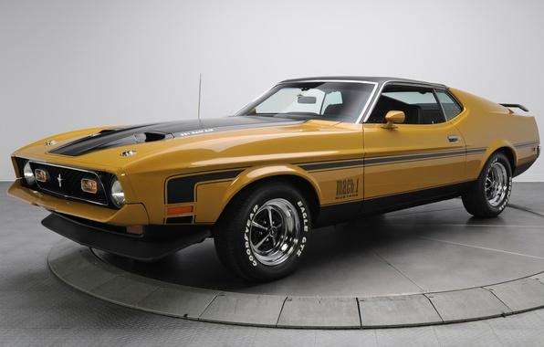 Картинка фон, Mustang, Ford, Форд, 1971, Мустанг, коричневый, передок, Muscle car, Mach 1, Мускул кар