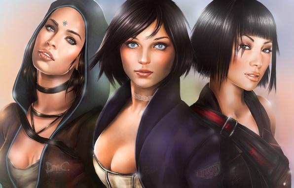 Картинка игры, девушки, арт, Фэйт, DmC, Devil May Cry, Kat, Кэт, BioShock Infinite, Элизабет, Mirror's Edge