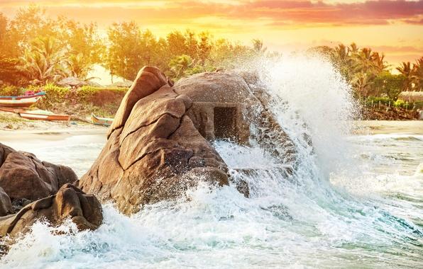 Картинка океан, берег, индия, пещера, rock, beach, ocean, water, ruins, wave, indian, ancient, cave, temple, древний …