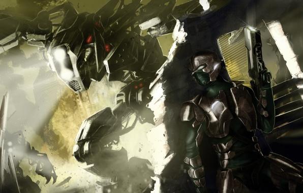 Картинка свет, город, оружие, Робот, воин, броня, руины