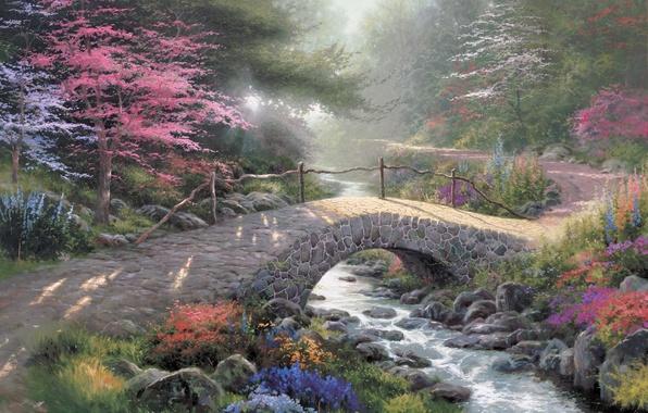 Картинка лес, свет, мост, природа, парк, ручей, живопись, painting, солнечный свет, Thomas Kinkade, Kinkade, Bridge Of …
